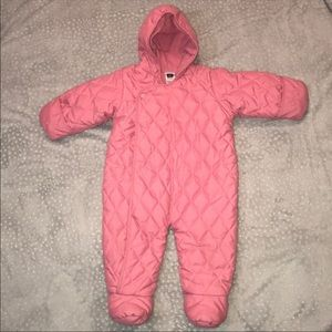 Baby Gap Quilted Pink Snowsuit Girls Size 3-6M